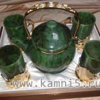 Набор: нефритовый чайник и стаканы