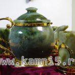 Нефритовый чайник + 4 стакана
