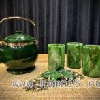 Чайник и три стакана из нефрита