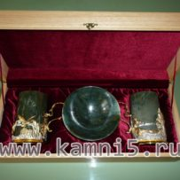 Креманница + 2 стакана с подстаканниками