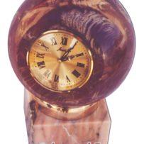 Часы— шар из розового мрамора